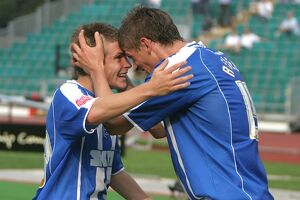 Dean Cox celebarates his goal with Alex Revell