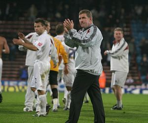 MArk McGhee applauds the Albion fans at the end of the game